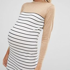 ASOS Maternity Knitted Dress in Stripe with Color